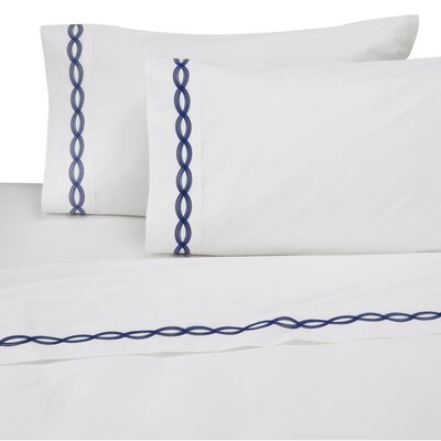 Perkins Embroidered 200 Thread Count 100% Cotton Sheet Set Size: Full/Double, Color: Navy