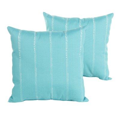 Berwyck Dot Stripes Indoor/ Outdoor Throw Pillow Size: 22 H x 22 W x 6 D, Color: Aqua
