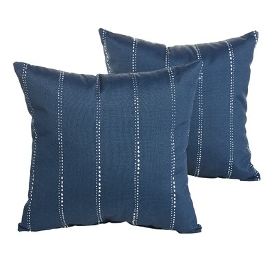 Berwyck Dot Stripes Indoor/ Outdoor Throw Pillow Size: 18 H x 18 W x 6 D, Color: Navy