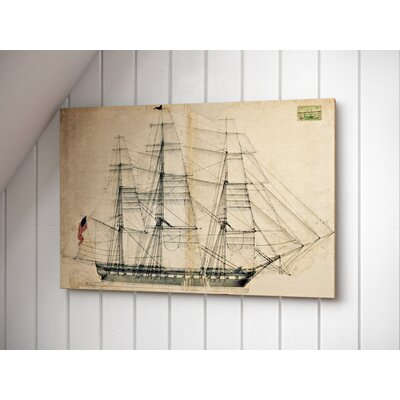 USS Constitution Sail Plan 1817 Graphic Art on Wrapped Canvas