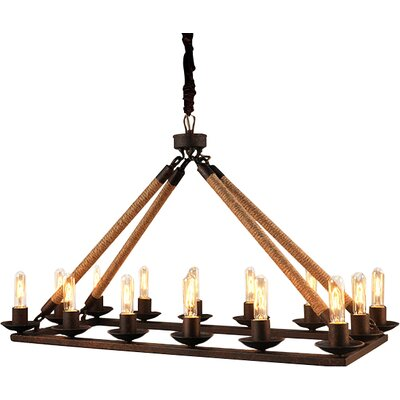 Matias Rectangular 14-Light Candle-Style Chandelier