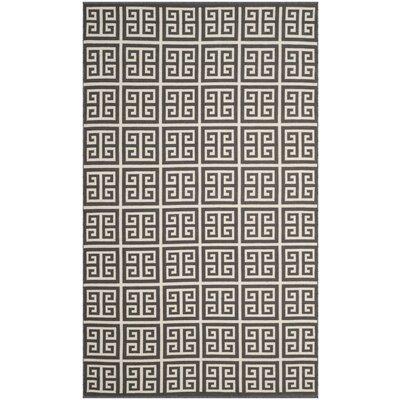 Walton Hand-Woven Dark Gray/Ivory Area Rug Rug Size: 2'6