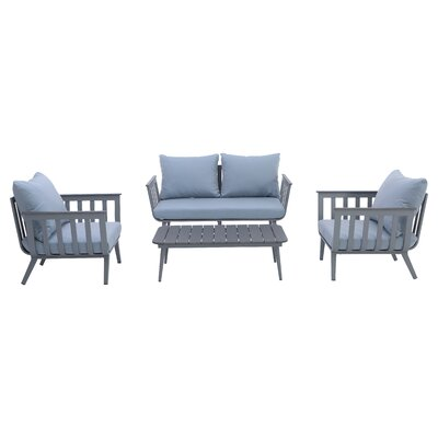 Newberry 4 Piece Deep Seating Group with Cushion Fabric: Sky Blue, Frame Finish: Charcoal
