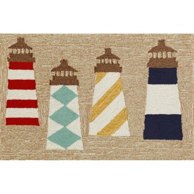 Walton Lighthouses Hand-Tufted Brown Indoor/Outdoor Area Rug Rug Size: 2 x 3