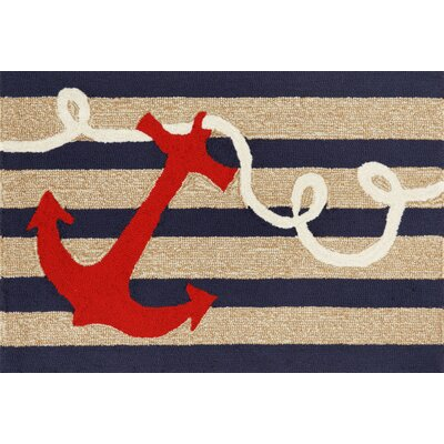 Walton Anchor Navy Indoor/Outdoor Area Rug Rug Size: Rectangle 2 x 5