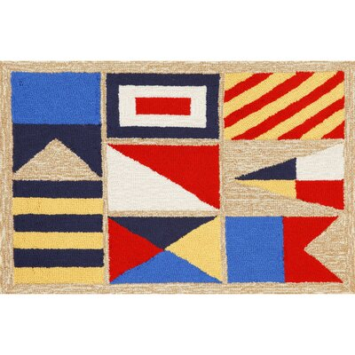 Walton Signal Flags Hand-Tufted Red/Blue Indoor/Outdoor Area Rug Rug Size: 2 x 3
