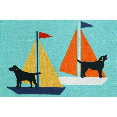 Walton Sailing Dog Area Rug Rug Size: 18 x 26