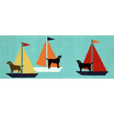 Walton Sailing Dog Hand-Tufted Blue Indoor/Outdoor Area Rug Rug Size: Runner 2 x 5
