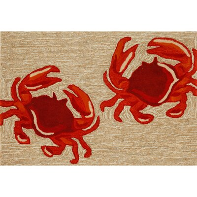 Walton Crabs Hand-Tufted Brown/Red Indoor/Outdoor Area Rug Rug Size: Rectangle 2 x 3