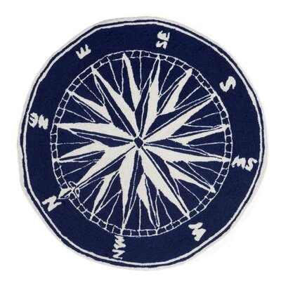 Walton Compass Navy Indoor/Outdoor Area Rug Rug Size: Round 3