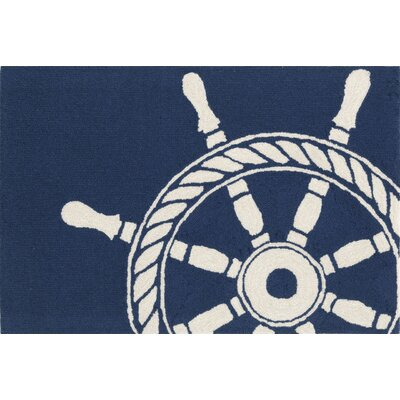 Walton Ship Wheel Doormat Color: Navy