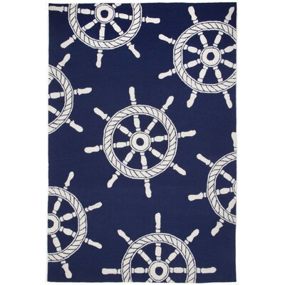 Walton Ship Wheel Navy Indoor/Outdoor Area Rug Rug Size: 36 x 56