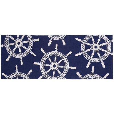 Walton Ship Wheel Navy Indoor/Outdoor Area Rug Rug Size: Runner 2'3