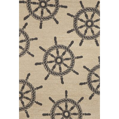 Walton Ship Wheel Neutral Indoor/Outdoor Area Rug Rug Size: 5 x 76