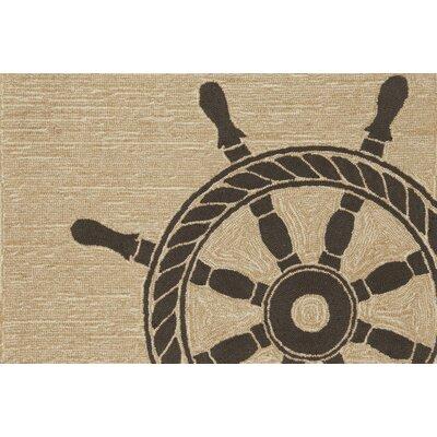Walton Ship Wheel Neutral Indoor/Outdoor Area Rug Rug Size: 2 x 3