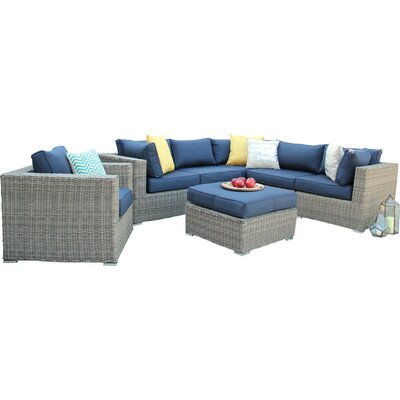 Greendale 7 Piece Deep Seating Group with Cushion Fabric: Navy
