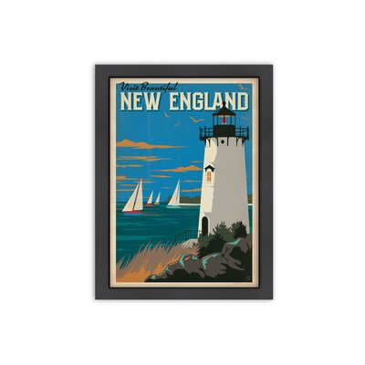 New England Lighthouse Vintage Advertisement Canvas Print