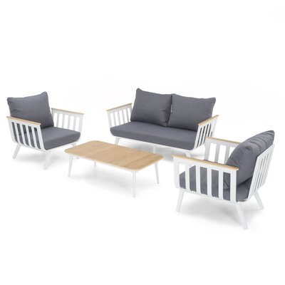 Newberry 4 Piece Deep Seating Group with Cushion Fabric: Charcoal Gray, Frame Finish: White
