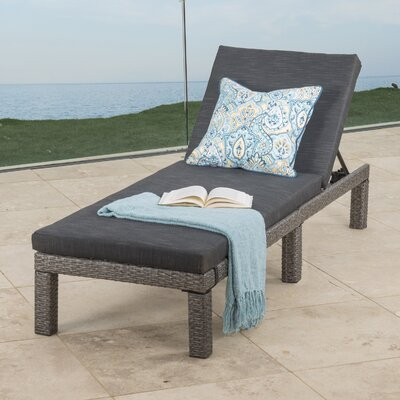 Elmfield Chaise Lounge with Cushion Fabric: Dark Gray/Mixed Black