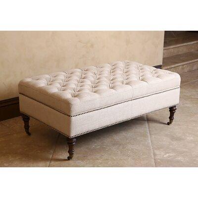 Emilia Storage Ottoman Upholstery: Linen/Beige