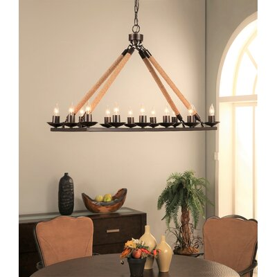 Nichols Rectangular 14-Light Candle-Style Chandelier