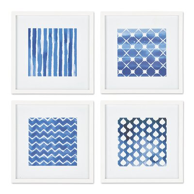 Textile Print Study 4 Piece Framed Graphic Art Set