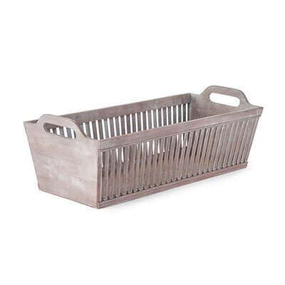 Bamboo Rectangular Basket Color: Gray wash