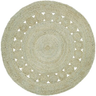 Summerland Solid Hand-Woven Beige Area Rug Rug Size: Round 8