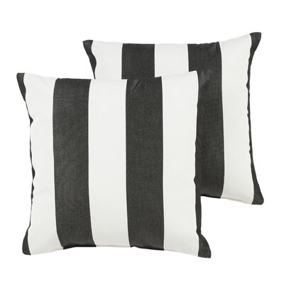 Stonebridge Square Indoor/Outdoor Sunbrella Throw Pillow Size: 18 x 18, Color: Black/White