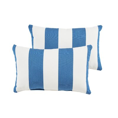Stonebridge Indoor/Outdoor Sunbrella Lumbar Pillow Color: Blue/White