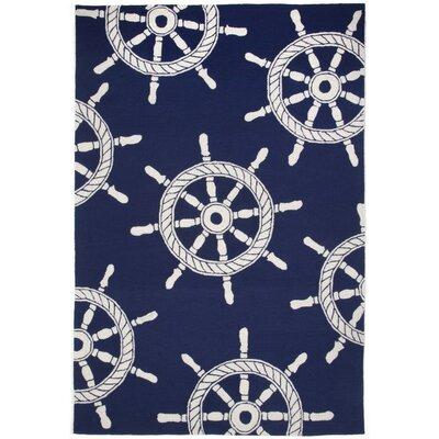 James Ship Wheel Kitchen Mat Color: Navy