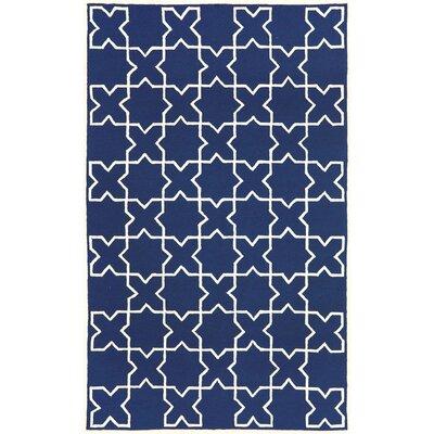 Orinda Navy Moroccan Tile Outdoor Area Rug Rug Size: 36 x 56