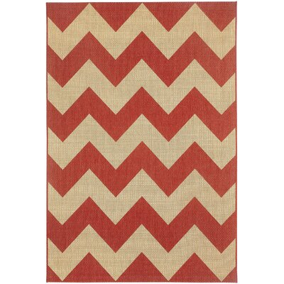 Palm Cove Red/Beige Indoor/Outdoor Area Rug Rug Size: 311 x 56
