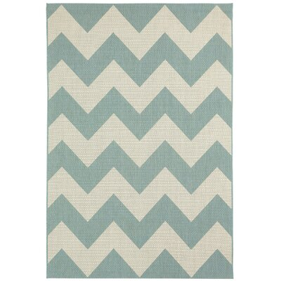 Palm Cove Blue/Beige Indoor/Outdoor Area Rug Rug Size: 53 x 76