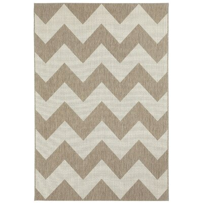Palm Cove Brown/Beige Indoor/Outdoor Area Rug Rug Size: Rectangle 3'11