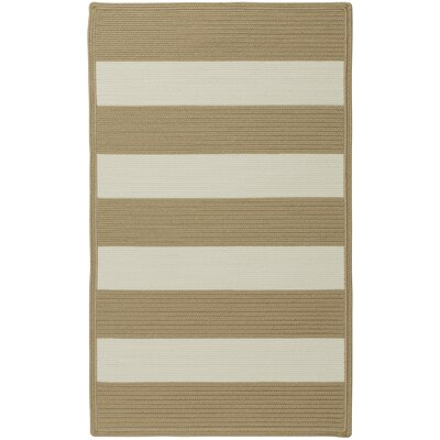 Mitscher Cream Striped Outdoor Area Rug Rug Size: Cross Sewn 18 x 26