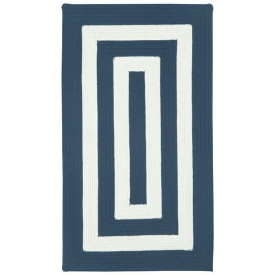 Mitscher Indigo/White Striped Outdoor Rug Rug Size: Concentric Runner 23 x 9