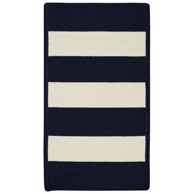 Mitscher Indigo/White Striped Outdoor Rug Rug Size: Cross Sewn Runner 2 x 8