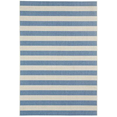 Palm Cove Blueberry Striped Outdoor Area Rug Rug Size: 53 x 76