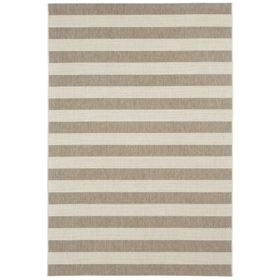 Palm Cove Wheat Beige Striped Outdoor Area Rug Rug Size: 53 x 76