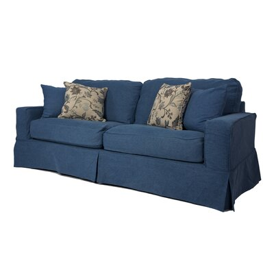 Oxalis Box Cushion Sofa Slipcover Set Upholstery: Indigo Blue