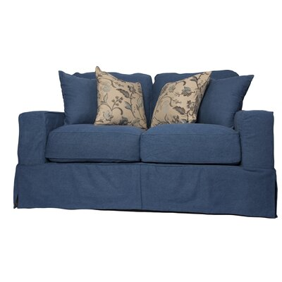 Oxalis Slipcovered Loveseat Upholstery: Indigo Blue