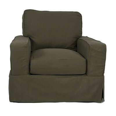 Oxalis Slipcovered Armchair Color: Forest Green