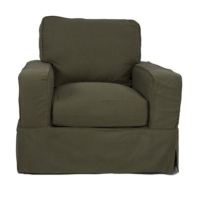 Oxalis Box Cushion Armchair Slipcover Upholstery: Forest Green