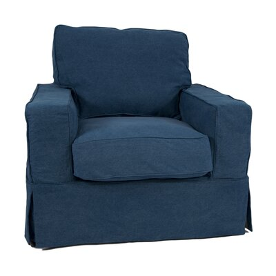 Oxalis Box Cushion Armchair Slipcover Upholstery: Indigo Blue
