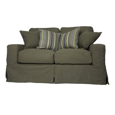 Oxalis Loveseat Slipcover Set Upholstery: Forest Green