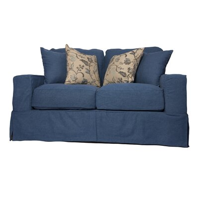 Oxalis Box Cushion Loveseat Slipcover Set Upholstery: Indigo Blue