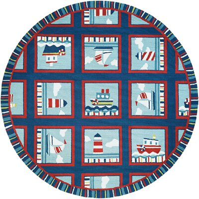 Welshire Hand-Woven Navy/Red-Ivory Indoor/Outdoor Area Rug Rug Size: Round 710