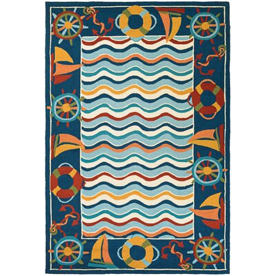 Welshire Hand-Woven Blue/Orange Indoor/Outdoor Area Rug Rug Size: Runner 27 x 86
