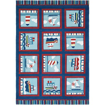 Welshire Hand-Woven Navy/Red-Ivory Indoor/Outdoor Area Rug Rug Size: 8 x 11